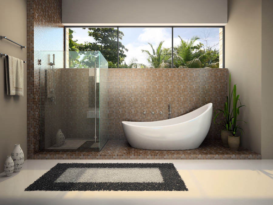 Modern interior of the bathroom